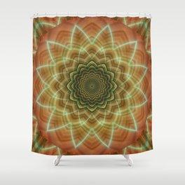 Mandala fractal flower orange Shower Curtain