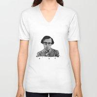 woody allen V-neck T-shirts featuring Woody Allen by OnaVonVerdoux