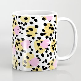 Pink Gold abstract painting foil trendy minimal modern art paint pattern gender neutral non binary  Coffee Mug