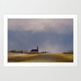 Distant Red Church on a Stormy Day Art Print