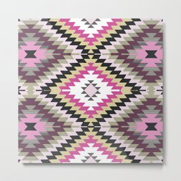 Kilim Navajo print in pinks Metal Print