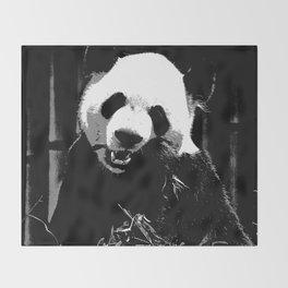 Cute Giant Panda Bear with tasty Bamboo Leaves Throw Blanket