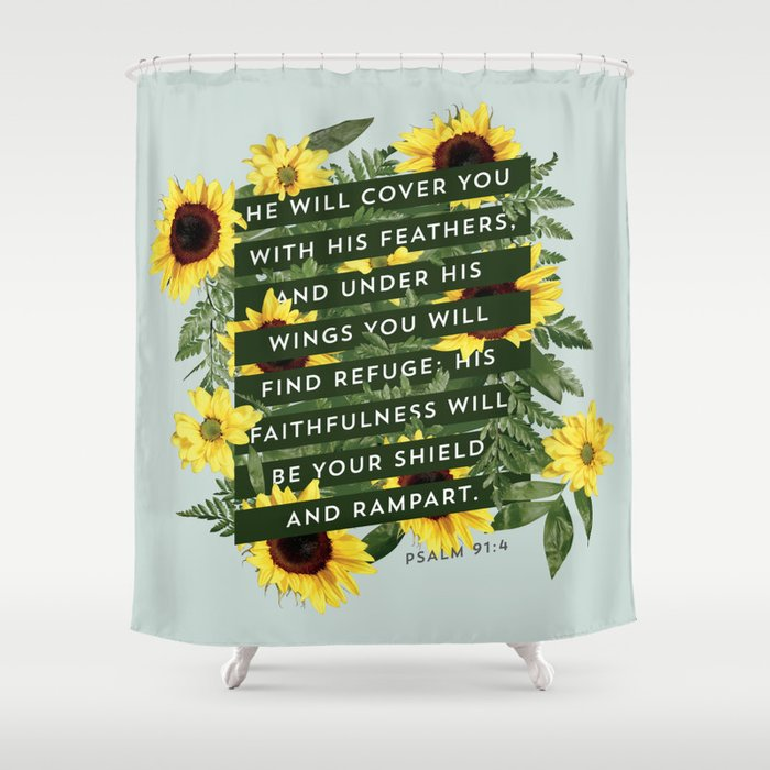 He Will Cover You Shower Curtain