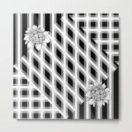 Floral On Black White Mat Metal Print