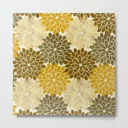 Golden Petals Pattern Metal Print