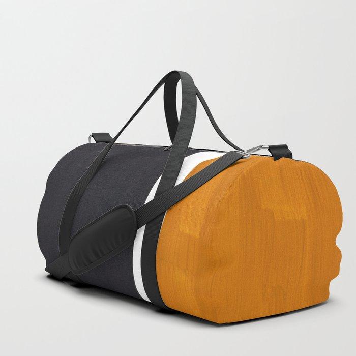 Black Yellow Ochre Rothko Minimalist Mid Century Abstract Color Field Squares Duffle Bag