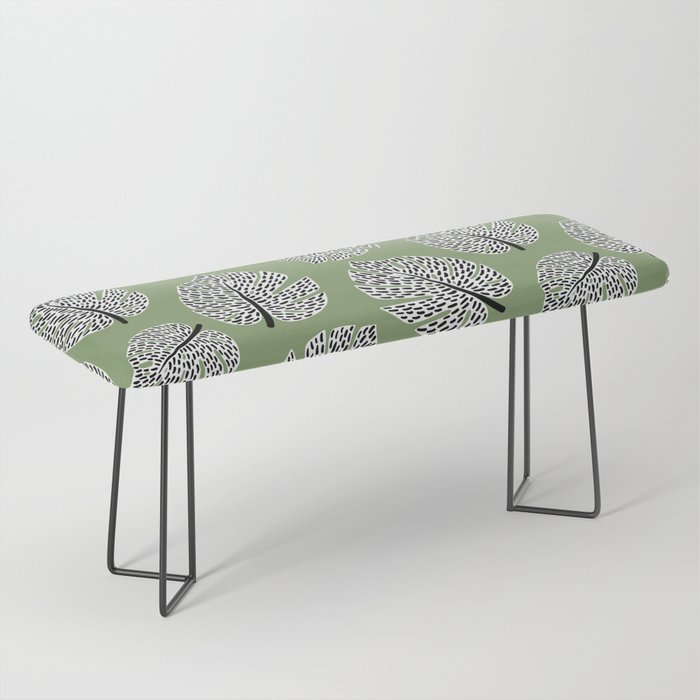 Abstract Monstera Leaf Pattern green Bench