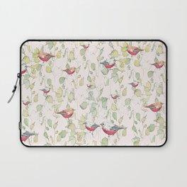 bird surface pattern design - light pastel green (Screen printed) Laptop Sleeve