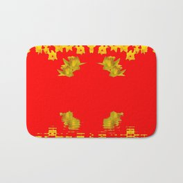 DECORATIVE RED YELLOW DAFFODILS ART Bath Mat