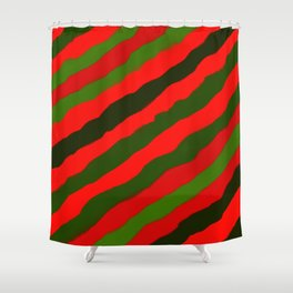 Merry Red Green Holiday Stripes Shower Curtain