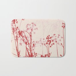 Elegant Coral Pink Botanical Floral Abstract. Bath Mat