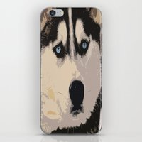 duvet cover iPhone & iPod Skins featuring DOG DUVET COVER by aztosaha