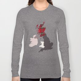British Isles Fabric Map Art Long Sleeve T-shirt