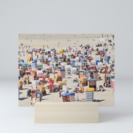 Beachgoers at the Island of Borkum, Germany Mini Art Print