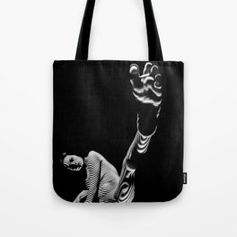 8416-KMA BW Fine Art Nude Woman Toes Striped Foot Up Tote Bag