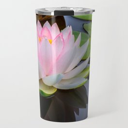 Pink Lotus & Green Lily Pads On A Jet Black Pond Travel Mug