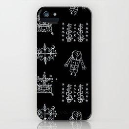 Papa Legba + Baron Samedi + Gran Bwa + Damballah-Wedo Voodoo Veve Symbols in Black iPhone Case