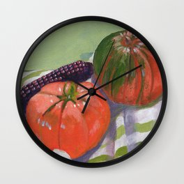 Pumpkin, Tomato and Corn Still Life Wall Clock