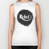 rebel Biker Tanks featuring Rebel by thezeegn