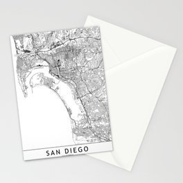 San Diego White Map Stationery Cards