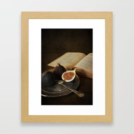 An old books and fresh figs Framed Art Print