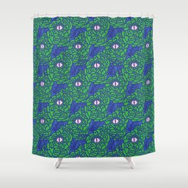 Green Blue and Pink Snakeskin Eye Graphic Shower Curtain