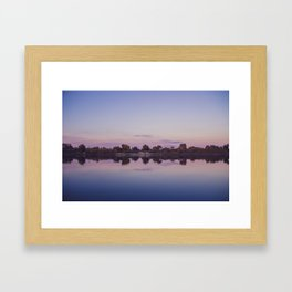 Summer landscae by the river.Sunset Framed Art Print