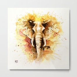 """Into the mirror"" n°4 The elephant Metal Print"