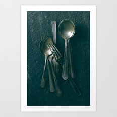 Beautiful Vintage Spoons on Black Art Print