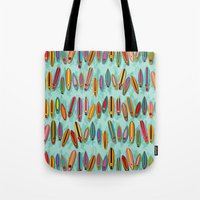 surf Tote Bags featuring Surf by Helene Michau