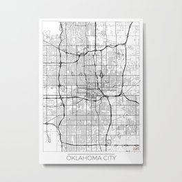 Oklahoma City Map White Metal Print