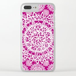 Pink and White Patterned Mandala Textile Clear iPhone Case