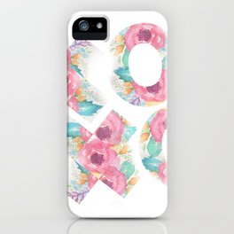 XOXO Floral Watercolor Typography iPhone Case