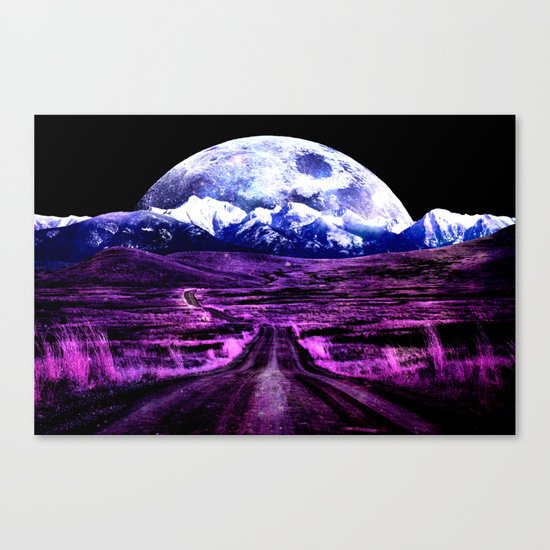 Highway to Eternity (moon mountain) Fuchsia Canvas Print
