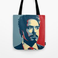 tony stark Tote Bags featuring Tony Stark by Cadies Graphic