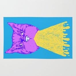 Cat Vomit - Purple Poot + Blue Background Rug