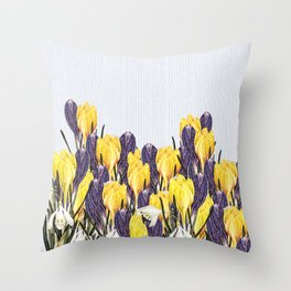 Spring flowers - snowdrops and crocii Throw Pillow