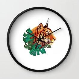 Monstera Tiger Wall Clock