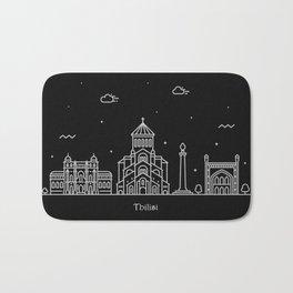 Tbilisi Minimal Nightscape / Skyline Drawing Bath Mat