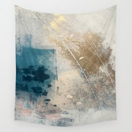 Embrace: a minimal, abstract mixed-media piece in blues and gold with a hint of pink Wall Tapestry