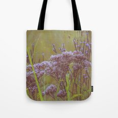 Summer Botanical Meadow Marsh with Joe Pye Weed and Blue Vervain Wildflowers Tote Bag