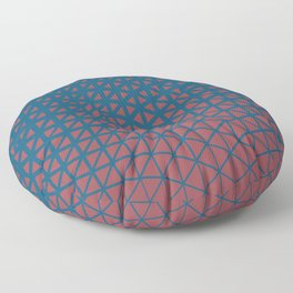 Red and Blue Geometric Triangle Wave Pattern 2021 Color of the Year Passionate and Long Horizon Floor Pillow
