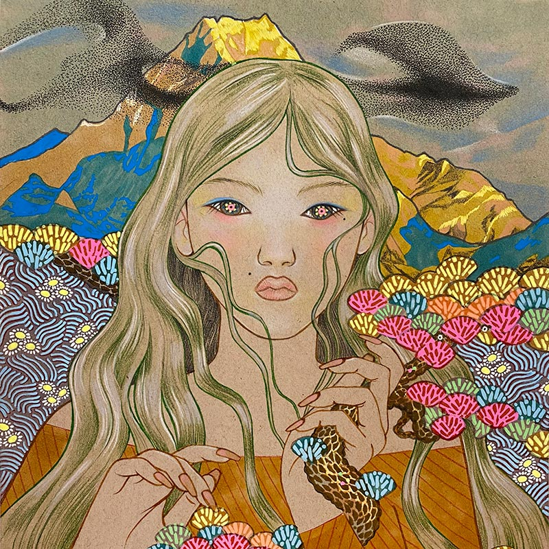 drawing of a woman with long flowing hair, surrounded by flowers and mountains
