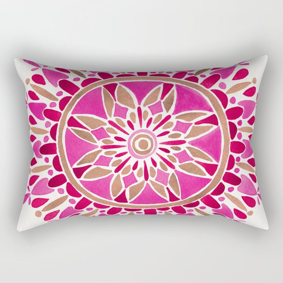 Mandala – Pink & Rose Gold Rectangular Pillow