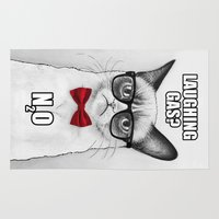 chemistry Area & Throw Rugs featuring Grumpy Chemistry Cat by Olechka