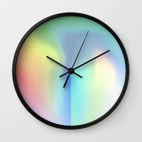 holographic Wall Clocks featuring Holographic Pastel by Sara Eshak
