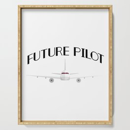 Future Pilot Funny Airplanes Boys Girl Men Serving Tray