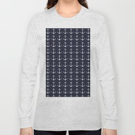 Nautical navy blue white modern anchor pattern Long Sleeve T-shirt