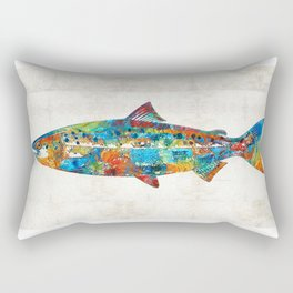 Fish Art Print - Colorful Salmon - By Sharon Cummings Rectangular Pillow