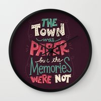 paper towns Wall Clocks featuring Paper Towns: Town and Memories by Risa Rodil